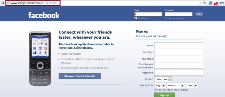 fake facebook login